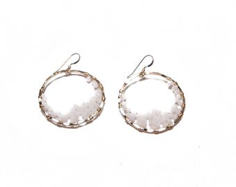 GIA EARRING * white and gold filled