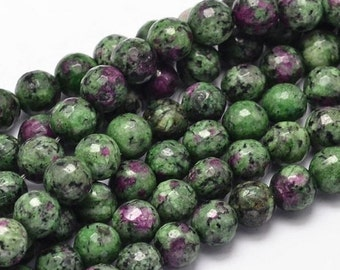 "Ruby Zoisite, Natural Anyolite Gemstone round beads 8mm, 10mm, Jewelry Making Beading supplies 15.5"" Full Strand Loose Round Beads"