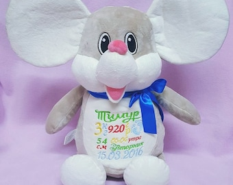 Personalised soft mouse toy,baby keepsake, newborn personalised gift, birthday gift, embroidered name toy