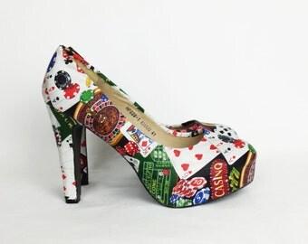 Casino, Las Vegas shoes, casino theme shoes, custom casino shoes, gambling, rockabilly shoes, casino heels, night out, Las Vegas wedding