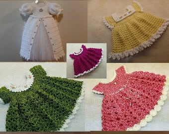 Awesome Deal! 5 Crochet Baby Dress Patterns! All are 0-6 Months. Dark Purple is Newborn DIGITAL DOWNLOAD ONLY