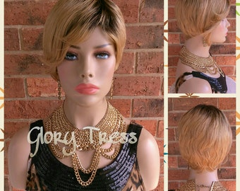 ON SALE // Short Razor Cut Full Wig, Pixie Cut Hairstyle, 100% Remy Human Hair Wig, Ombre Blonde Wig // FAITH