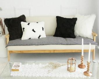 Black Herringbone Sofa Throw Pads Runner