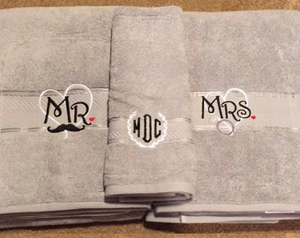 Mr. and Mrs. Bath Towels with Monogramed Hand Towel (Grey or White)