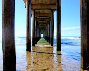 Ocean Pier Photography | Scripps Pier | Wrapped Canvas Photograph | California Beach Photography | Home Decor | Color Photography |