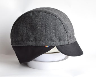 Autumn grey wool cycling cap * Classical 3 panel cap * Elastic earflap