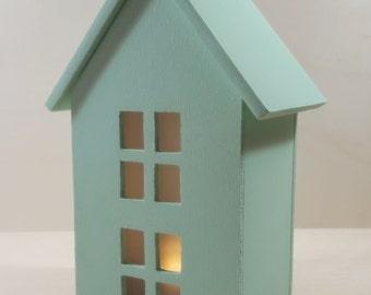 Decorative light wooden house   Wood Mint House   White wooden house   House with light   Handmade   Mint   White