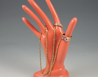 Ceramic Hand Ring Coral Glazed Holder Ceramic Jewelry Tree Hand Glove Mold Great Bridesmaid Gifts!