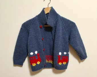 Vtg blue wool knit toddler Cowichan red train sweater