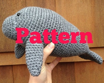 Crochet manatee pattern- manatee crochet tutorial- handmade manatee design- amigurumi manatee pattern