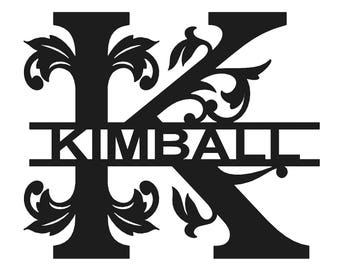 "18"" Metal Monogram Sign - Family Name - Personalized Metal Sign (item #16-03-18)"