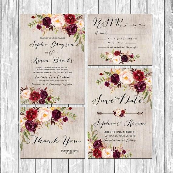 Rustic Burgundy Purple Floral Script Wedding Invitations: Printable Wedding Burgundy Purple And Pink Invitation Set