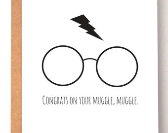 Harry Potter card, Muggle, Harry Potter pregnancy card, Funny cards, Harry Potter, humor card, nerd card, Harry Potter gifts, pregnancy card