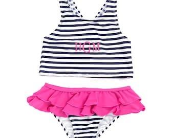 Monogram Girls Swimsuit, Monogram Swim suit, Monogram swimwear, Monogram Prep Stripe Swim wear