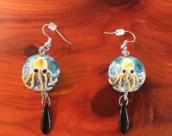 Octopus lampwork with black onyx drop earrings