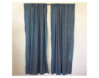 2 Indigo Curtain Panels - Long Floral Blue Drapes - Boho Hippie Window Curtains - Cotton Retro Indigo Blue Curtains