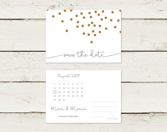 Save the date card. Gold printing. Confetti