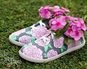 Custom Canvas Shoes - Roses Flowers