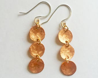 Shiny Hammered Disc Earrings, Long Coin, Hammered Earrings, Handmade Copper Jewelry