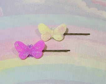 Fairy Kei Hair Pins, Sweet Lolita Hair Pins, Whimsical Hair Clip, Butterfly Hair Pins, Cult Party Kei Hair Pins, Glitter Hair Pins