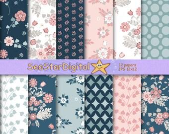 Floral patterns,digital paper pack download, flowers printable for scrapbook, garden background, teal, leaves, leaf.