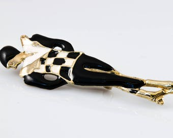 1970's Ladies Figure Brooch With Black And White Enamel