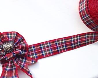 1 yd Scottish tartan ribbon - Red tartan ribbon 25 mm 1 inch - Royal Stewart tartan ribbon - Scottish wedding decor - Red Scottish hair bows