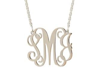 Medium Sterling Silver Monogram Filigree Necklace - Interlocking Collection