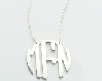Medium Sterling Silver Circle Monogram Necklace