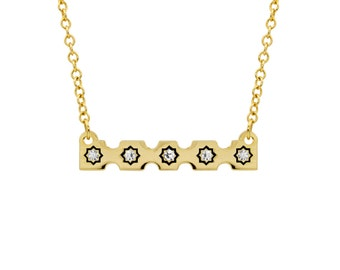 Starred Stamp Edge Bar Necklace