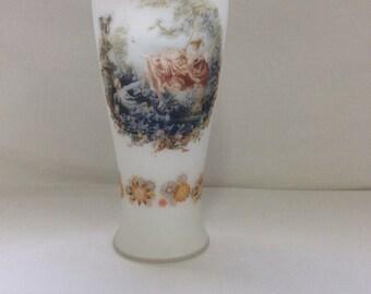 Frosted glass vase, Victorian garden, Cherubs and flowers, Satin glass, Victorian scene, Garden cherubs, TreasuresinTyme
