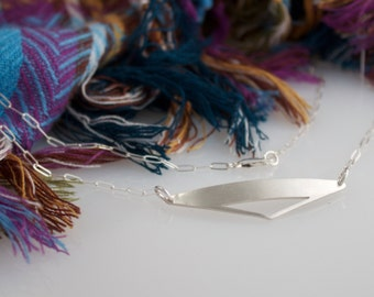 Triangle Necklace, Silver Triangle Cut Out