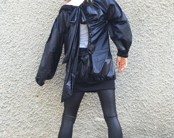 Asymmetric Extravagant Winter Black Jacket, Oversize Black Cardigan, Maxi Waterproof Windproof Trench by SSDfashion