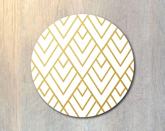 Real Gold Mouse Pad - Gold Foil Geometric Pattern Mouse Pad - Custom Personalized Color - Computer or Office Work Station Decor