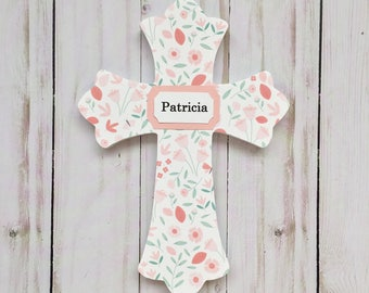 Girl Baptism Cross, Girl Baby Dedication Gift, Decorative Wall Cross, Blush Girl Cross, Girl Cross with Name, Optional Personalization