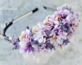 Purple white flower crown Wedding flower crown Bridal floral crown Wedding hair wreath Bridesmaid flower crown Floral crown Flower halo LV12