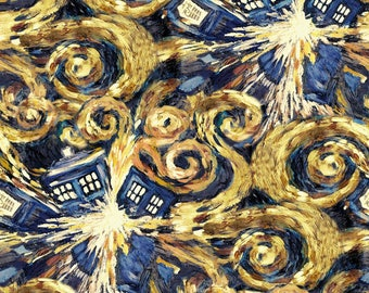 Doctor Who Exploding Tardis Cotton Woven, Tardis Fabric, Dr Who Fabric, Doctor Who Fabric, Exploding Tardis Fabric, Dr Who Merchandise