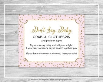 Pink and Gold Baby Shower Don't Say Baby Game - Printable Baby Shower Don't Say Baby Game - Pink and Gold Confetti Baby Shower - SP145