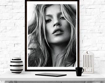 Kate Moss, Home Décor, Vintage poster, Fashion, Model, Print, Gift For her