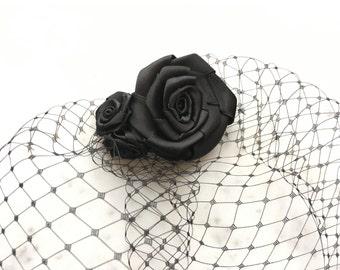 Fascinator Black Rose