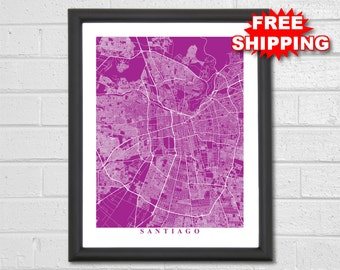 Santiago Map Art - Map Print - Chile - Hometown - Custom Map - Personalized - Home Map - Birthday Gift - Housewarming