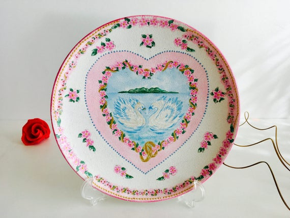 Decoupage Plate, Swan decor, Swan lake family, Handmade plate, Decorative Plate, Mothers day gift, Swan hearts in love, Swan decoupage plate