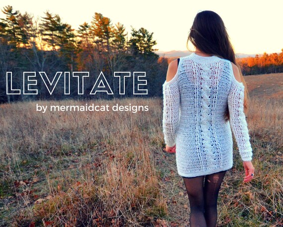 Crochet Sweater Dress pattern shoulderless and cabled -Levitate