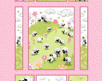 """Susybee's Lal, the Lamb quilt Top Pink 100% cotton 43"""" x 35"""" fabric panel (SB41)"""