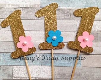 Set of 12 Number One Cupcake Glitter Toppers, Number Cupcake Toppers, Glitter Gold Number 1 2 3 4 5 6 Toppers