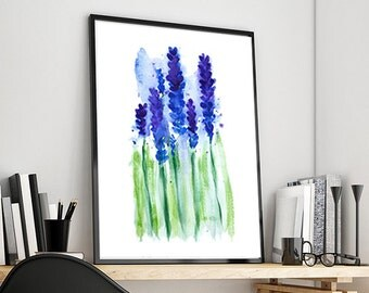 Hyacinth Watercolor Decor, Purple Flowers Watercolor Art Print Blue Flower, Watercolor Painting Flower - 4