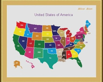 Cross Stitch Pattern Patchwork Map of the United States of America Counted Cross Stitch Pattern/Instant Download Epattern PDF File