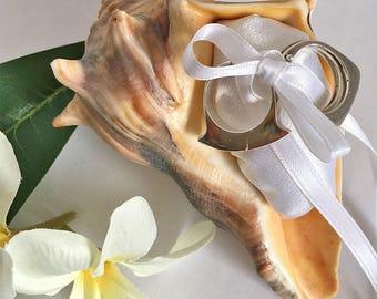 Whelk Seashell Ring Holder Ring Bearer Pillow Sea Shell Satin Ring Pillow, Beach Wedding Seashell Satin Ring Pillow Destination Wedding