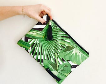 Bag Handbag Clutch tropical, vegetal, bambou, green, black and white : wrist strap or shoulder strap