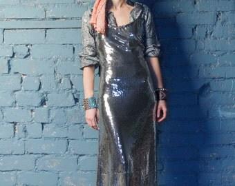 Evening dress/long dress/grey dress/paillette's dress/long women dress/long silver dress